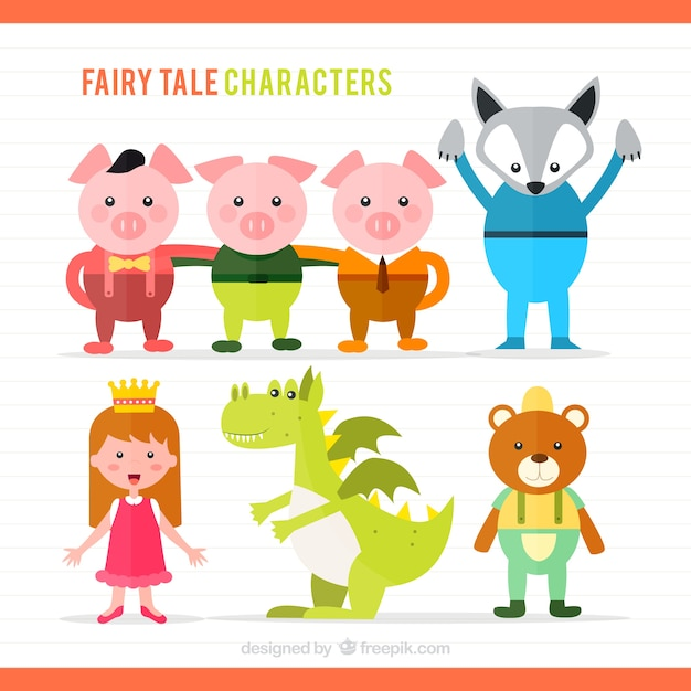 Illustration Of Fairy Tale Characters Premium Vector