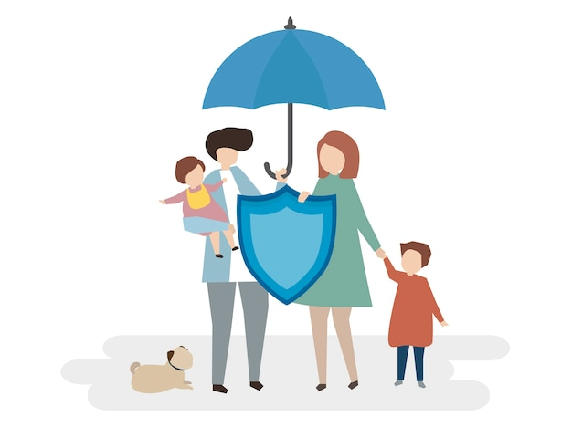Illustration Of Family Life Insurance Vector Free Download