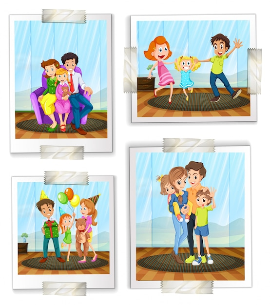 Illustration of family photos Free Vector