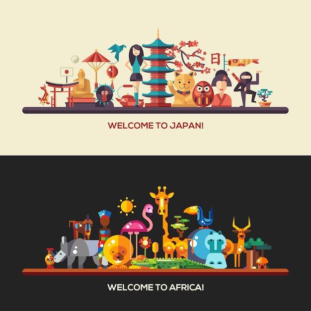 Иллюстрация плоского дизайна африка и япония туристические баннеры с иконами Premium векторы