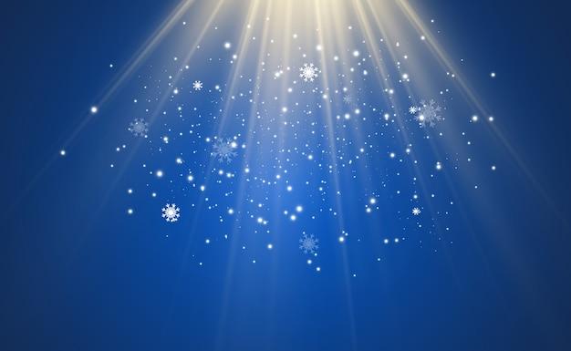 透明な背景に雪を飛んでのイラスト。降雪や吹雪の自然現象。 Premiumベクター