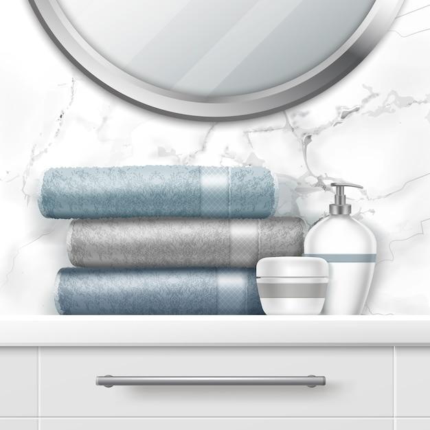 箪笥の折りたたみタオルと石鹸のイラスト Premiumベクター