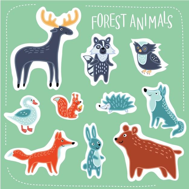 森面白い漫画動物セットのイラスト Premiumベクター