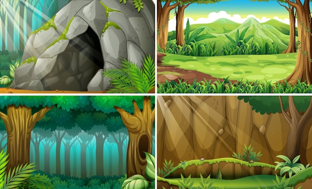 Illustration of four scenes of forests and a\ cave