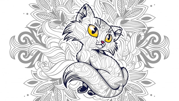 Zentangledで面白い漫画の猫のイラストは、 Premiumベクター