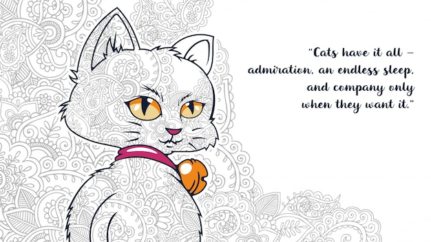 Zentangledで引用符で面白い漫画の猫のイラストは、 Premiumベクター