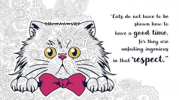 Zentangleで引用符付きの面白い漫画太った猫の落書きのイラスト Premiumベクター