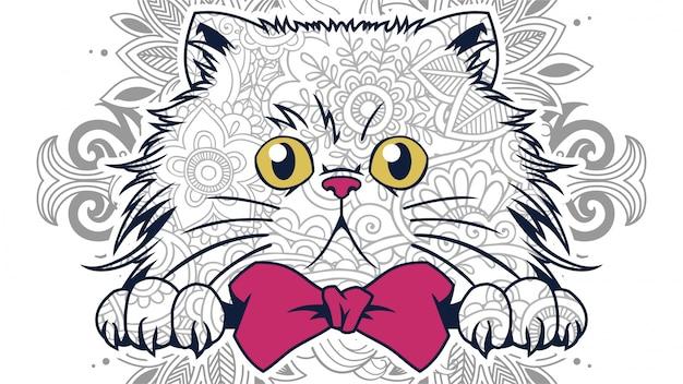 Zentangleの面白い漫画太った猫の頭のイラスト Premiumベクター