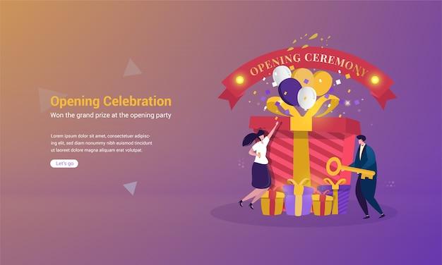 Иллюстрация получения главного приза с концепцией церемонии открытия Premium векторы