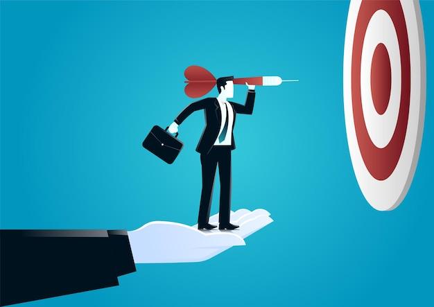 대상 보드에 다트를 던지는 사업가 돕는 거 대 한 손 그림. 도전과 목표 비즈니스를 설명합니다. 프리미엄 벡터
