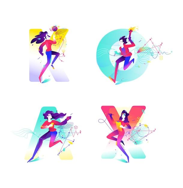 Иллюстрация девушек на фоне букв. изображение для баннера сайта и печати. геометрия. Premium векторы