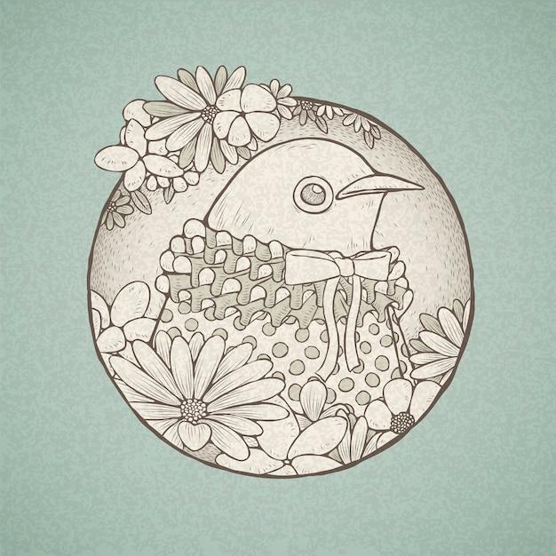 Иллюстрация рисованной милой птицы в стиле ретро Premium векторы