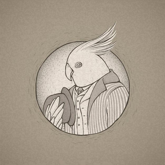 手描きのレトロなスタイルの紳士オウムのイラスト Premiumベクター