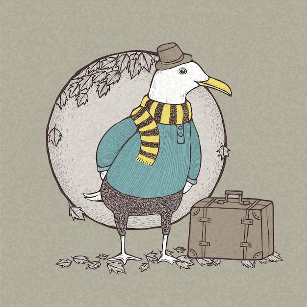 Иллюстрация рисованной ретро-стиле путешествовала чайка Premium векторы