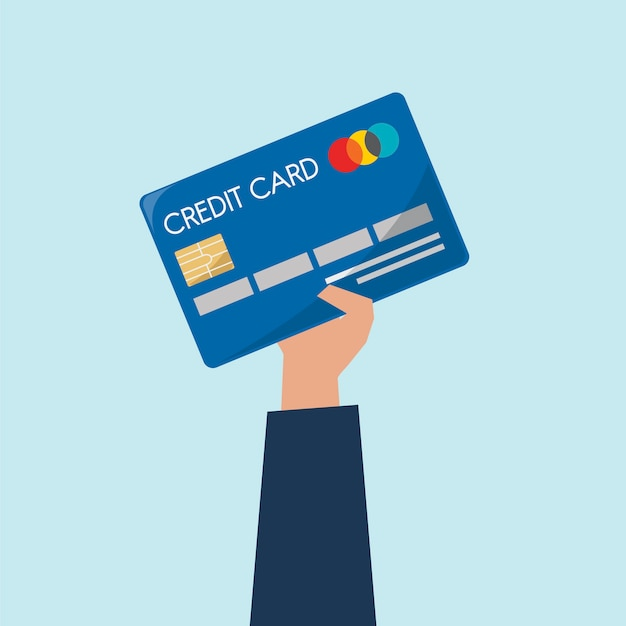 Illustration of hand holding credit card Free Vector