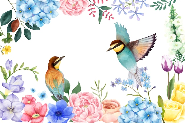 Illustration of hand painted flowers and birds  Free Vector