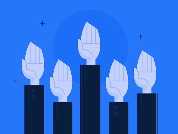Иллюстрация руки, поднятой вверх. бизнес-концепция Premium векторы