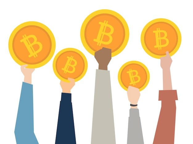 Illustration of hands showing bitcoins Free Vector