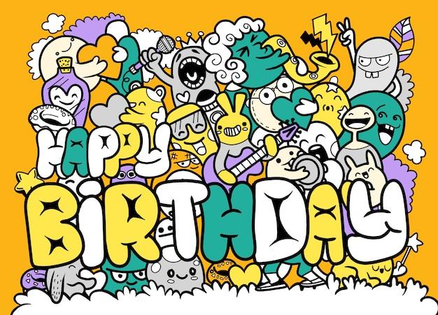 落書きかわいいモンスター手描き落書きとお誕生日おめでとうのイラスト Premiumベクター