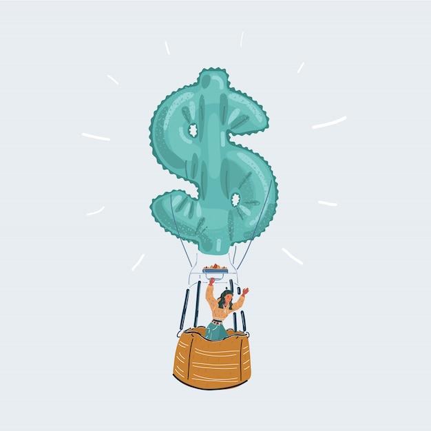 白い背景の上のお金のアイコンと熱気球で幸せなビジネスの男性のイラスト。 Premiumベクター
