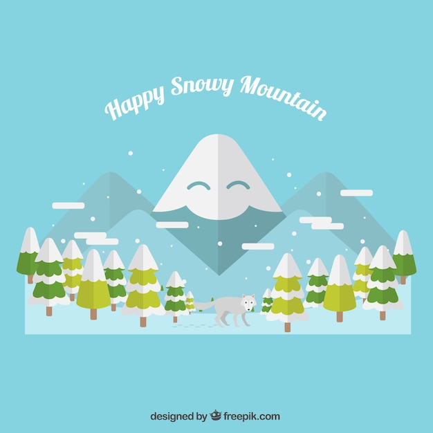 Illustration of happy snowy mountain with\ trees