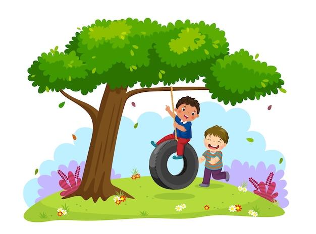 Иллюстрация счастливых двух мальчиков, играющих на качелях под деревом Premium векторы