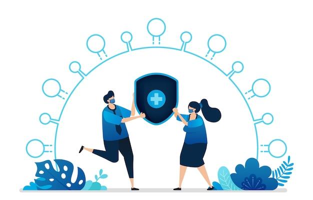 健康保険サービスのイラスト Premiumベクター