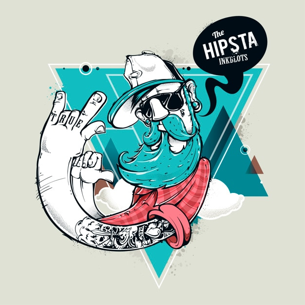 illustration of hipster character vector premium download