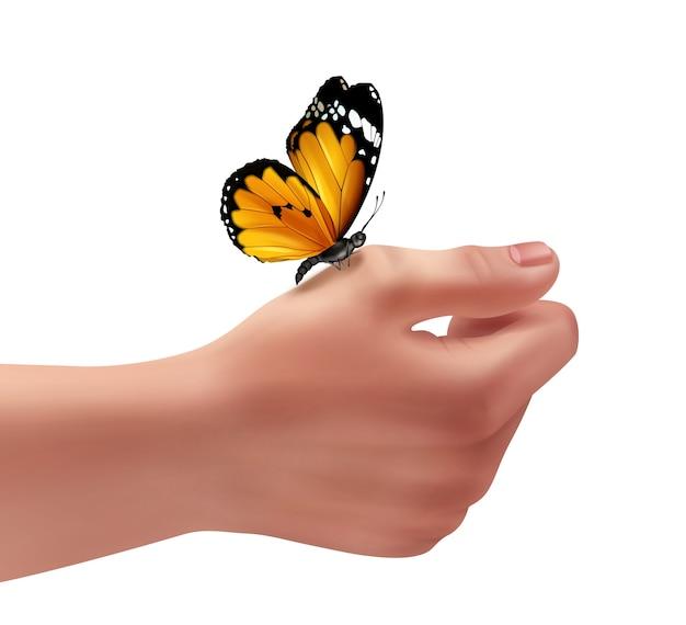 Иллюстрация правой руки человека с бабочкой Бесплатные векторы