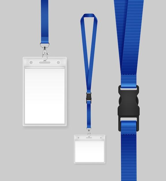 青いリボンと身分証明書のイラスト。 Premiumベクター