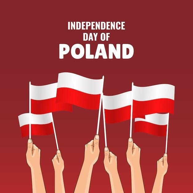 Иллюстрация дня независимости польши. руки с флагами польши Premium векторы