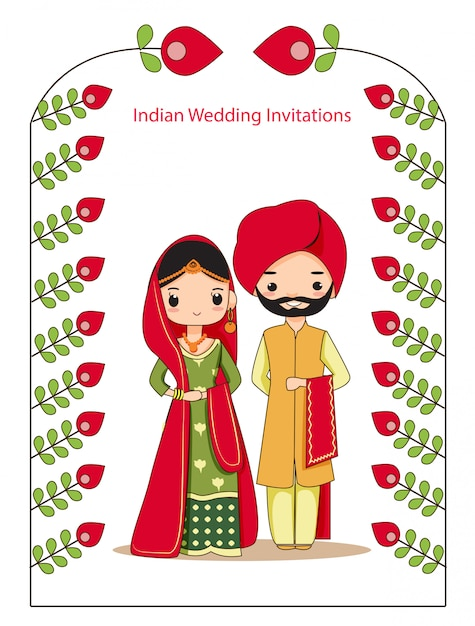 Illustration Of Indian Wedding Couple In Traditional Dress For