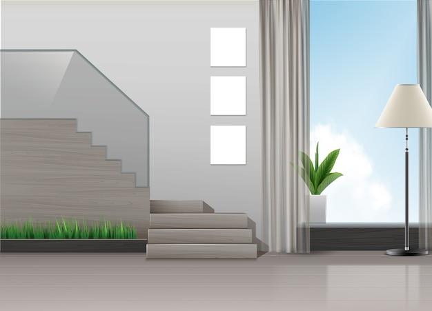 階段、ランプ、植物、大きな窓とミニマリストスタイルのインテリアデザインのイラスト 無料ベクター