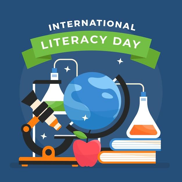Иллюстрация международного дня грамотности Бесплатные векторы