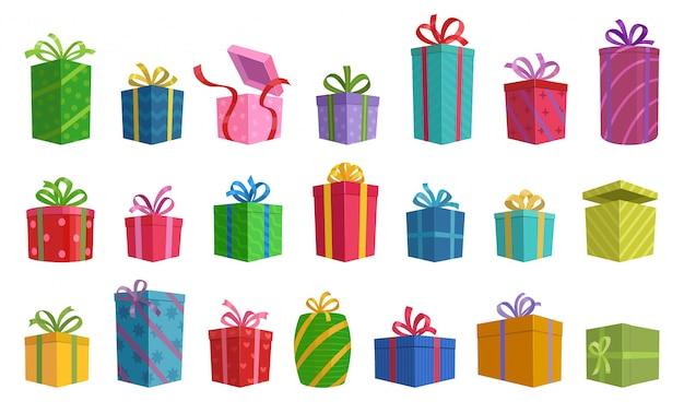 Иллюстрация изолированной подарочной коробки значка шаржа с лентой. Premium векторы