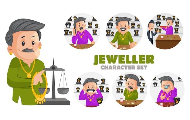 宝石商の文字セットのイラスト Premiumベクター