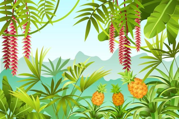 バナナの木とジャングルのイラスト。 Premiumベクター