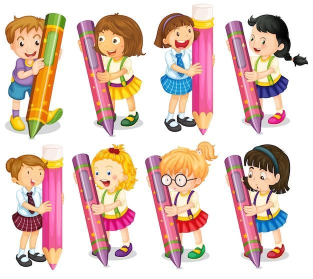 illustration of kids holding pencils