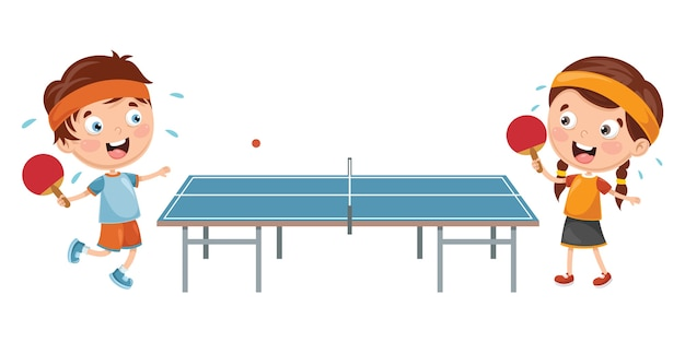 Illustration Of Kids Playing Table Tennis Vector Premium