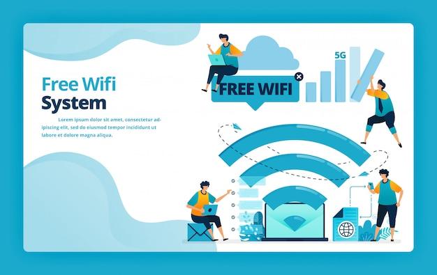 より安価でより効率的なインターネット接続のための無料のwifiシステムのランディングページの図 Premiumベクター