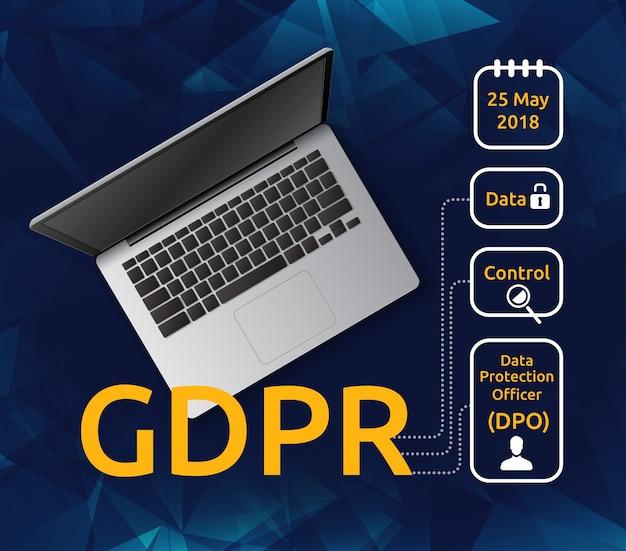 ノートパソコンの上面図と一般データ保護規則またはgdprの図と説明アイコン。ユーザーのプライバシー法の概念 Premiumベクター