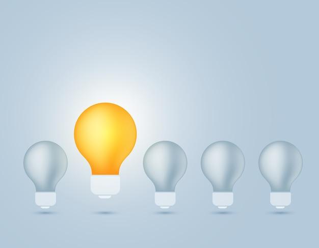 Иллюстрация лампочки выключить свет и одна светящаяся желтая лампочка Premium векторы