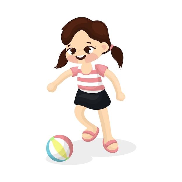 Иллюстрация маленькая девочка, играющая в футбол с мультяшным стилем Premium векторы