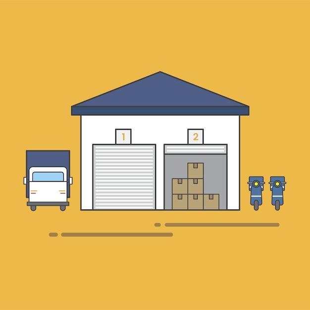 Illustration of logistics service vector set Free Vector