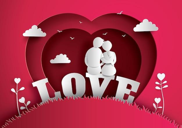 사랑과 발렌타인의 그림 프리미엄 벡터