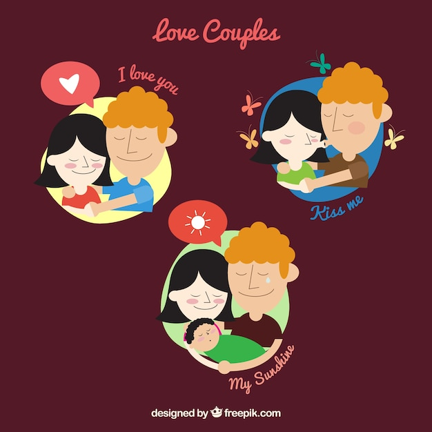 Illustration of love couples