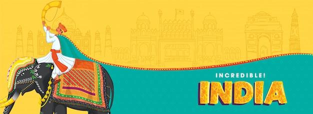 Иллюстрация человека, играющего тутари, сидящего на слоне с зарисовками известных памятников на желтом и бирюзовом фоне для невероятной индии. Premium векторы