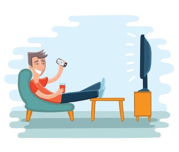 肘掛け椅子でテレビを見ている男のイラスト。テレビと椅子に座って、飲む Premiumベクター
