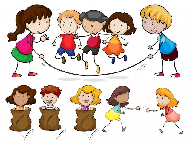Illustration of many children playing Free Vector