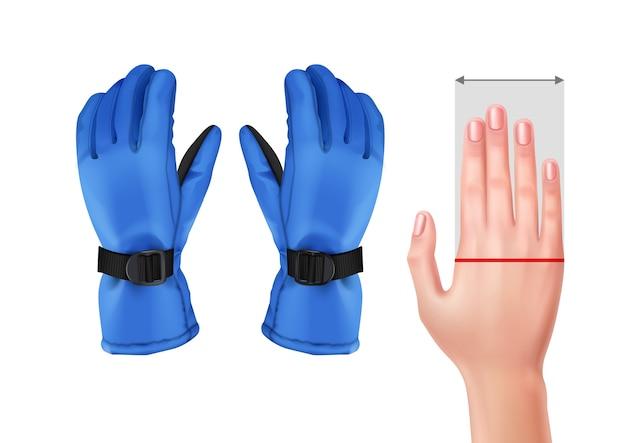 Иллюстрация измерительной руки для перчаток с синими лыжными перчатками Бесплатные векторы